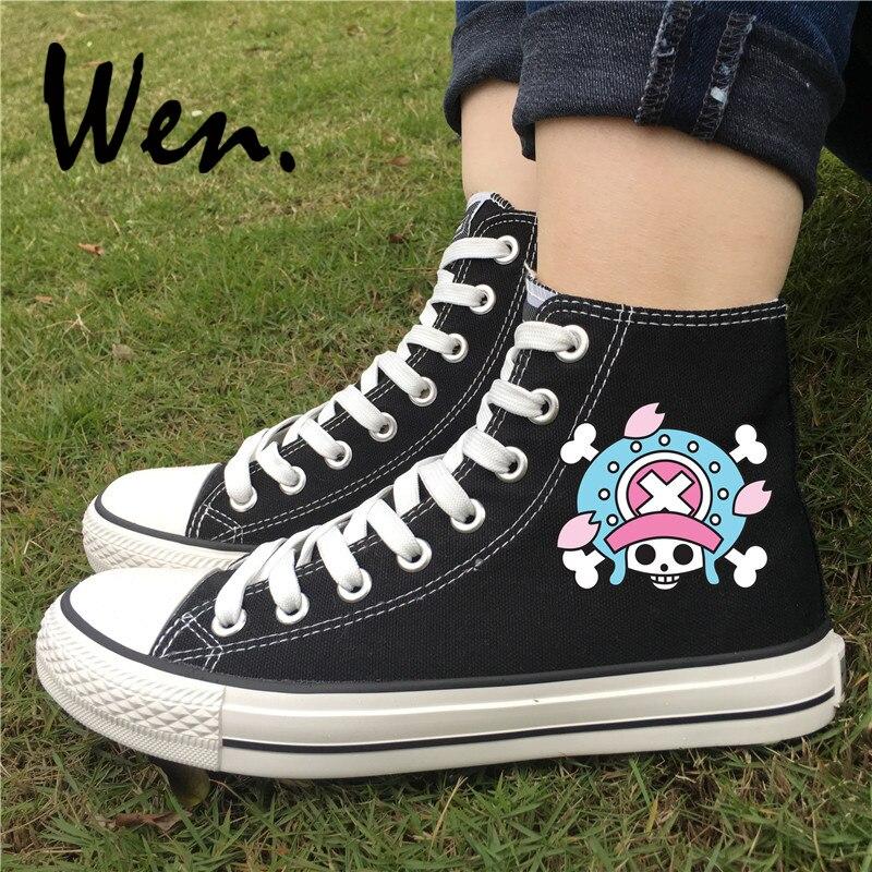 Zapatillas de patinaje Wen One Piece, con diseño de Tony Chopper en blanco y negro, zapatillas de lona de alta calidad, zapatillas planas con cordones para hombre y mujer
