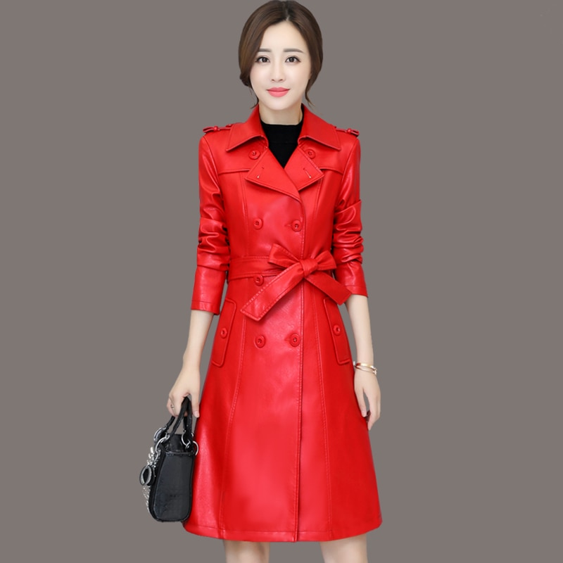 New casual style Femme Leather Coat Jaqueta De Couro Feminina Women Long Leather Coat turn-down Collar PU Leather Trench enlarge