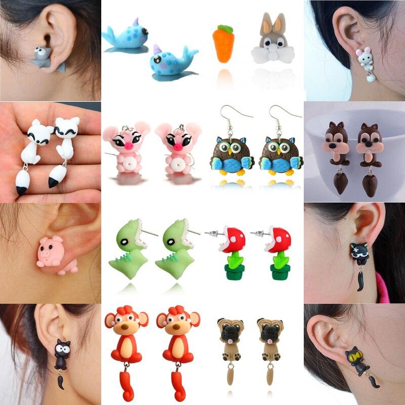 Imixlot Fashion Handmade Polymer Mario Clay Fox Plant Stud Earrings for Women 3D Cute Cartoon Animal Earrings Brinco