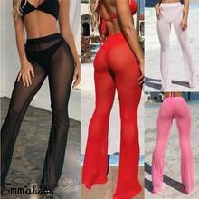 See Through Flared Mesh Summer Beach Long Pants 2019 New Women High Waist Pants Trousers