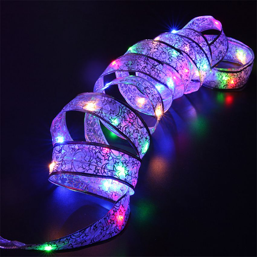 4M 40leds LED Copper Wire Ribbon  Butterfly Bow Tie LED String Light AA Battery Operated Xmas Wedding party Decoration Garlands