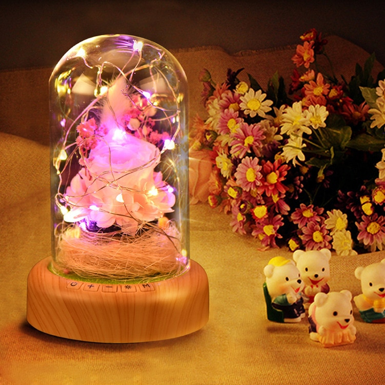 Lover sección Woodiness Bluetooth altavoz caja Rosa regalo cubierta de cristal pequeño paisaje Vida eterna flor regalo lámpara LED