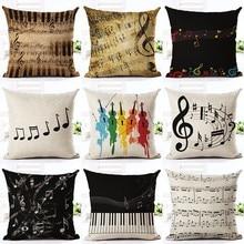 Mode Muziek Serie Note Gedrukt Kussenhoes Home Decoratieve Sofa Koffie Auto Stoel Sierkussen Case Almofada Cojines