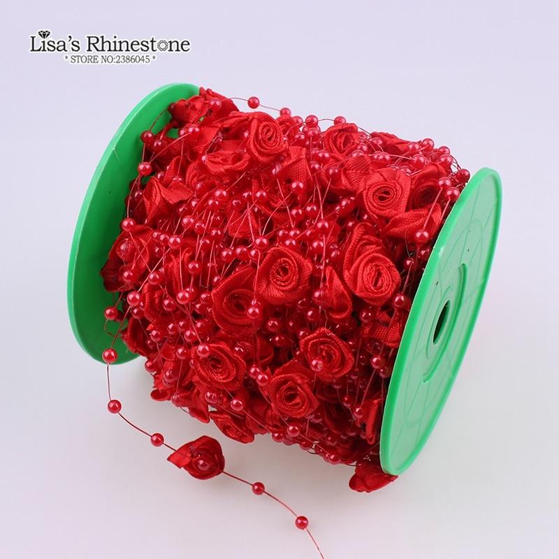 2 Yard Artificial Pearls Rose Flower Beads Chain Garland DIY Wedding Party Decoration Bride Hair Bouquet Dress Decor