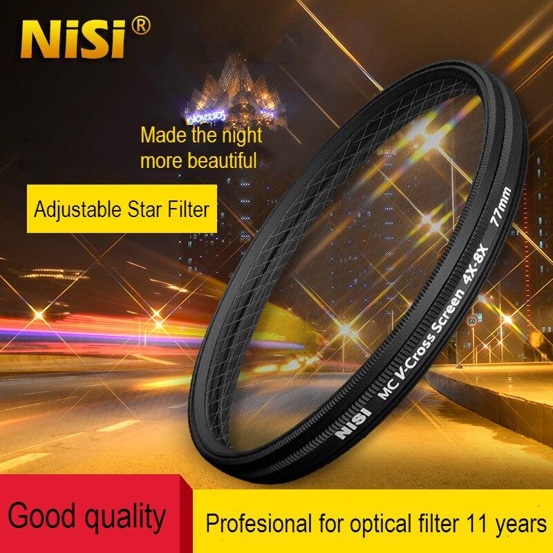 Filtro NISI Star 67mm 72mm 77mm 82mm, v-cross Screen 4x-8x Filtro de cámara Ultra-Delgado MC Variable 4 a 8