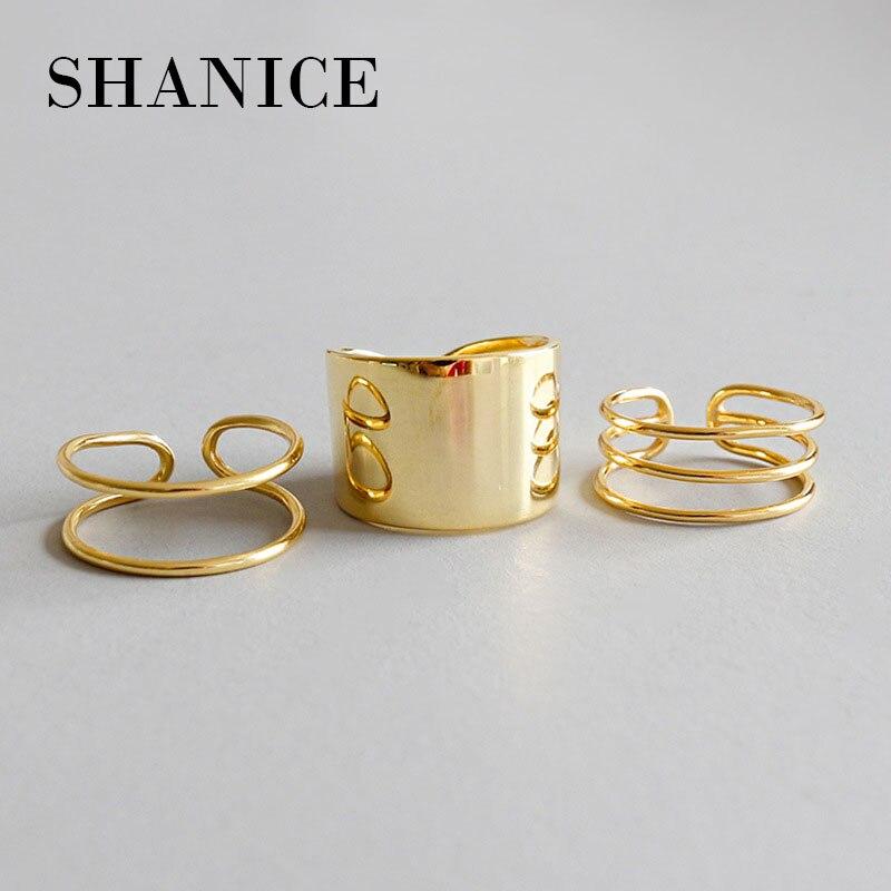 Shanice grande cor de ouro clássico 925 prata esterlina ajustável anel largo dedo unissex feminino amostra aberto anel banda bijoux jóias