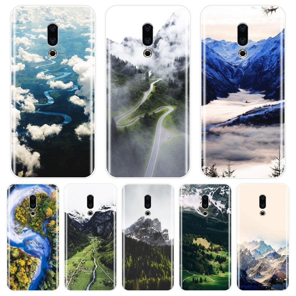 Caso para meizu u10 u20 pro 6 7 plus montanha nuvem de viagem silicone macio capa traseira para meizu 15 lite 16 plus 16th 16x telefone caso