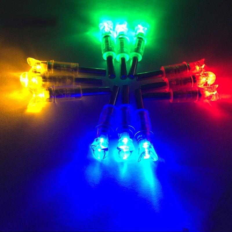3 uds LED iluminado Flecha de ballesta Nocks para virotes ID 7,6mm caza flechas media luna Nocks cuatro colores para elegir