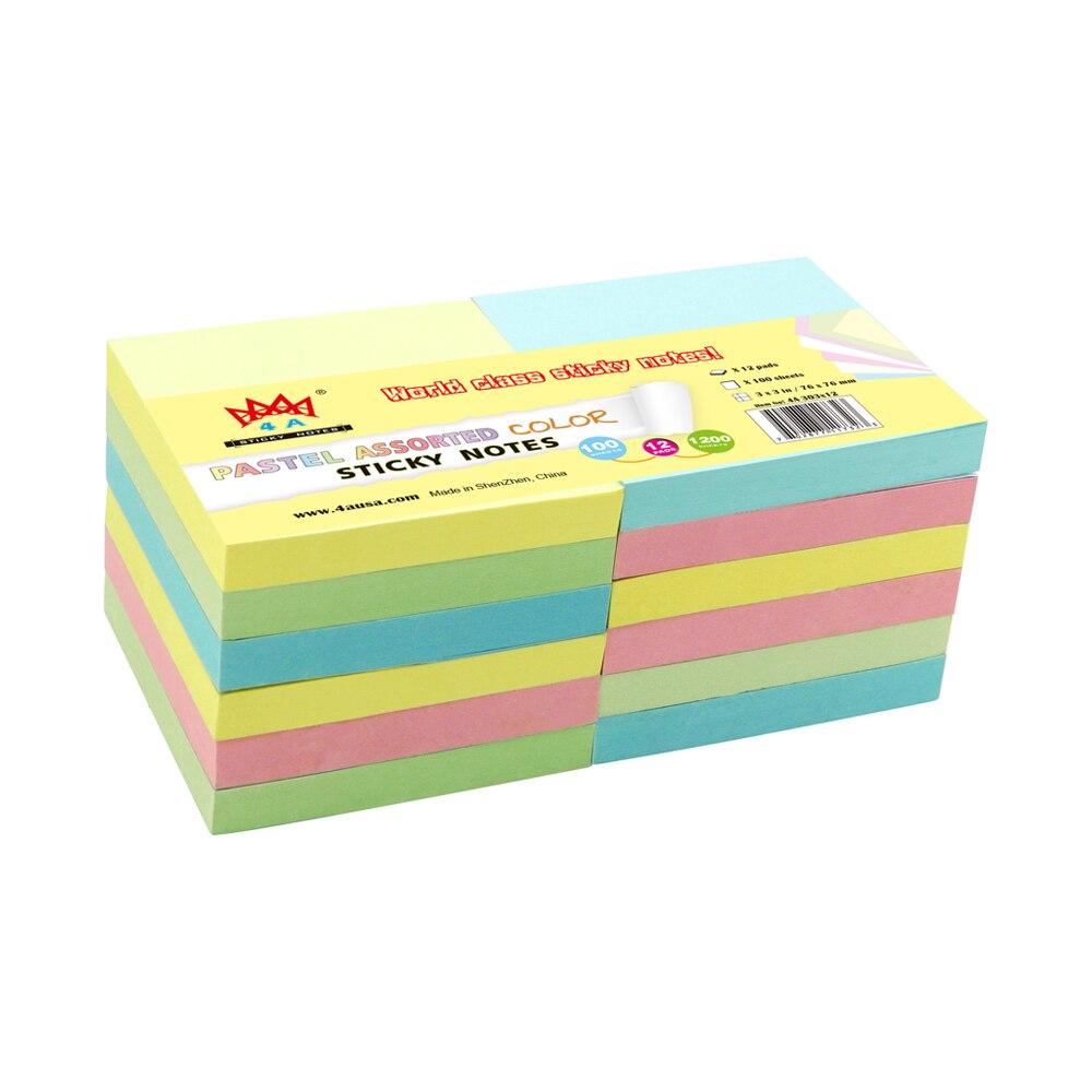 12 almohadillas 4A 303x12 notas adhesivas 3x3 pulgadas Pastel surtido de notas Kawaii papelería notas adhesivas lindas Bloc de notas útiles escolares