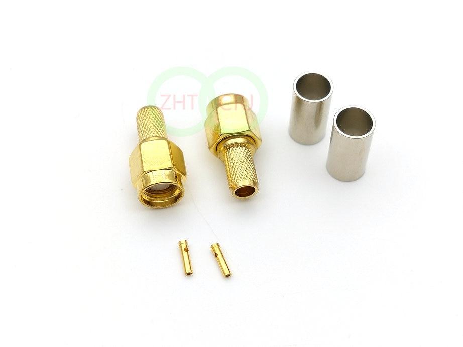 1000pcs Gold plated RP-SMA male plug jack crimp for RG58 RG142 LMR195 RF connector