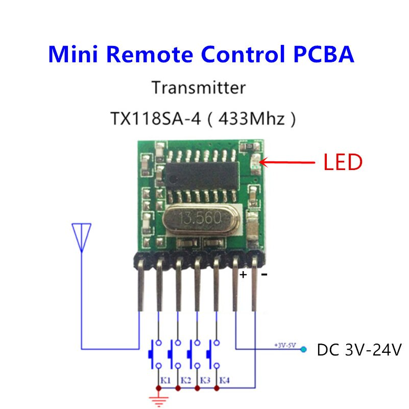 433 mhz Mini Control remoto inalámbrico RF 1527 EV1527 código de aprendizaje 433 mhz transmisor para puerta de garaje alarma Controlador de luz