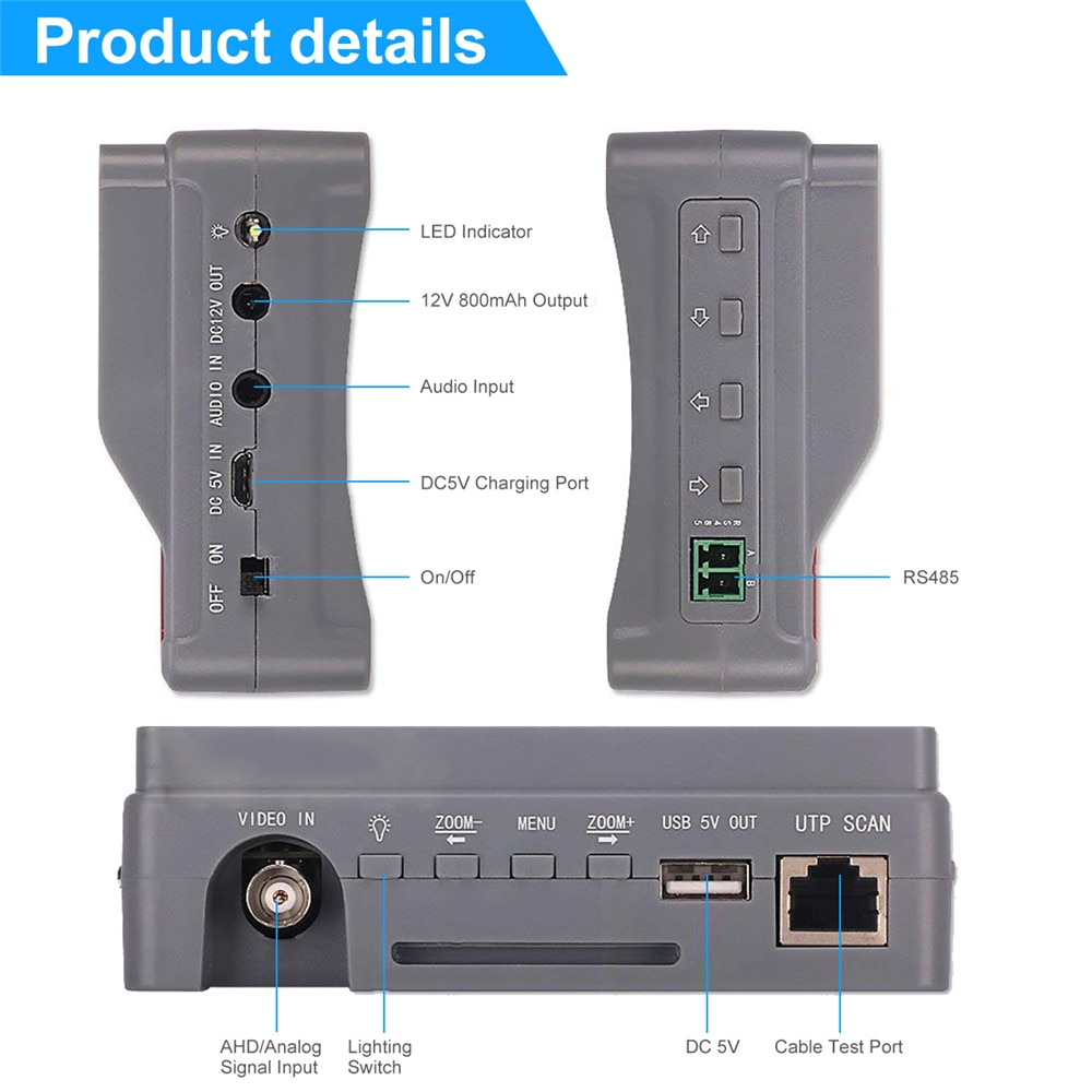 Promotion 4.3 inch four in one HD CCTV tester monitor AHD CVI TVI CVBS analog cameras testing3MP 1080P 960P 720P PTZ audio 12V enlarge