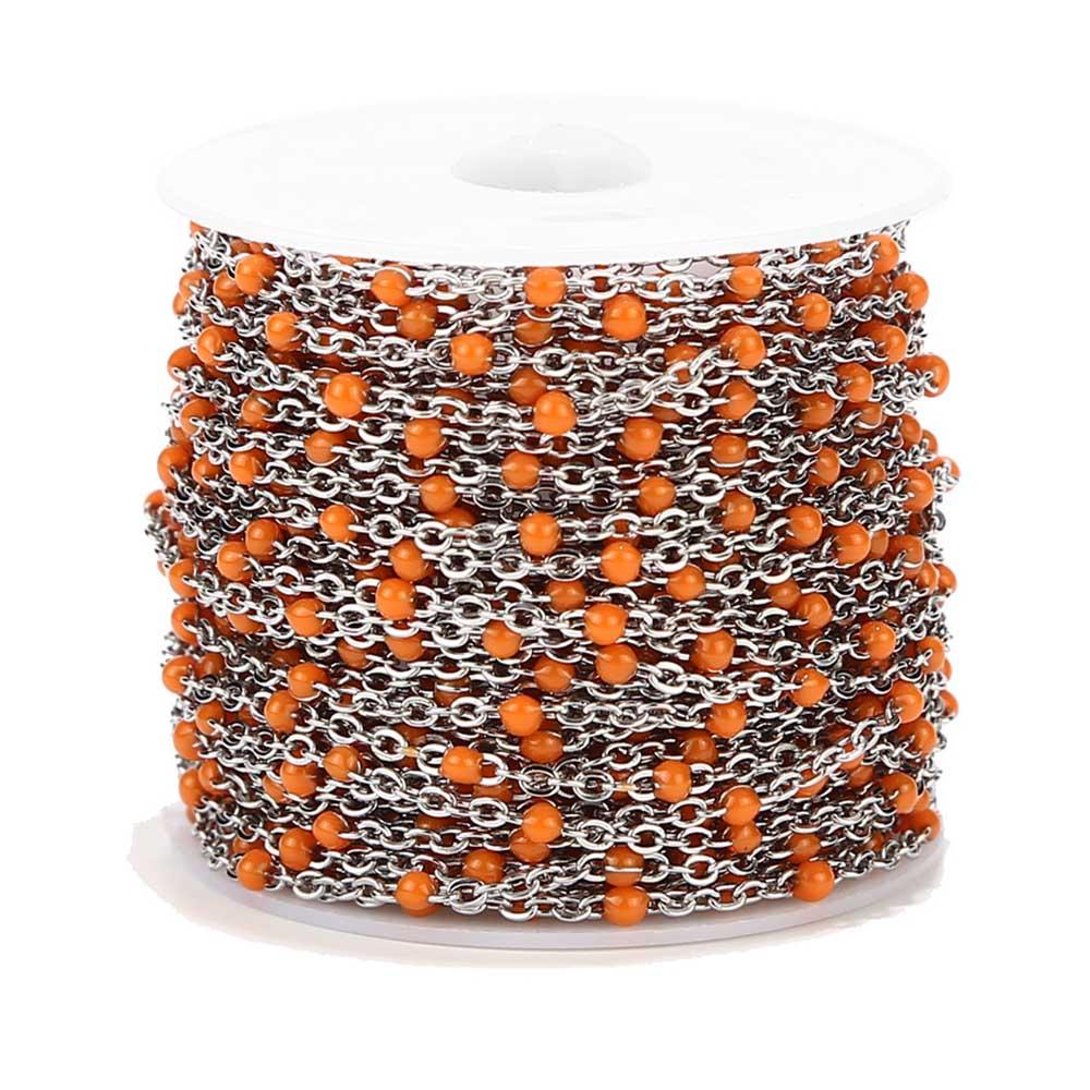 2 M Plata Mate Acero inoxidable naranja/rojo/Negro/azul/blanco/rosa/Verde esmalte cadena satelital cadenas de eslabones de acero fino 2mm