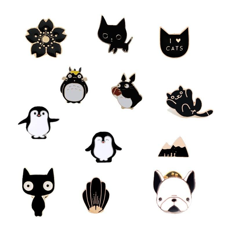 Модная эмалированная Женская брошка в виде животных из мультфильма, милый котенок, медведи, папа, пингвинов, горная брошь в форме морских раковин джинсовый значок