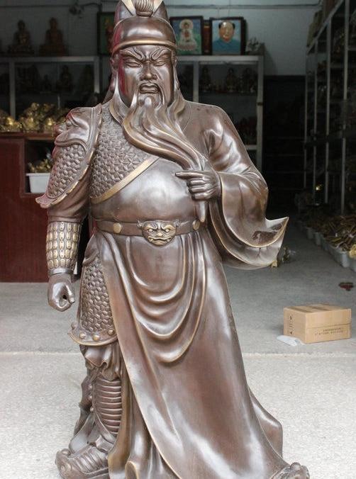 "Estatua tradicional china de bronce de 44 ""Guan Gong Guan Yu Guerrero Dios sostiene la espada ancha soporte"