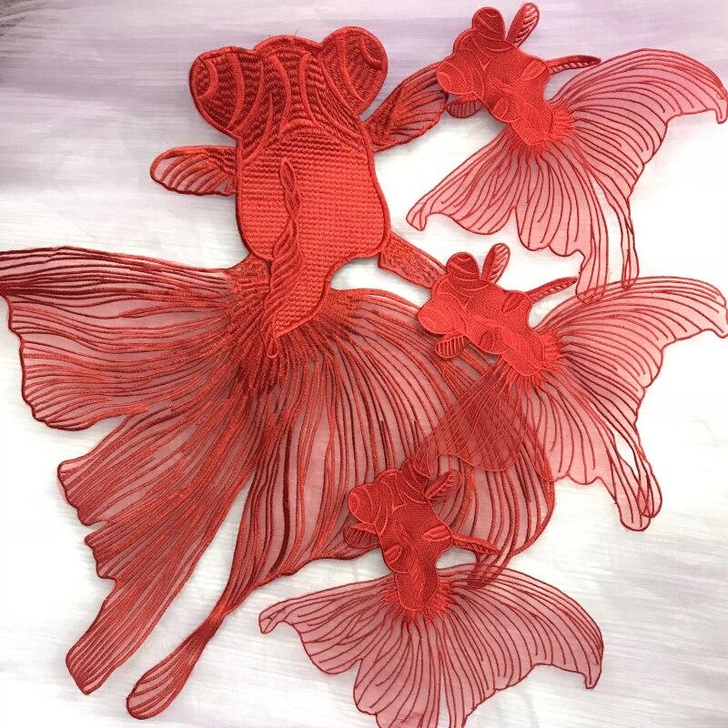 Вышивка из органзы высокого качества, красная нашивка «Золотая рыбка» с супер большими тканевыми наклейками для детей, сделай сам, декоративные патчи с аппликацией