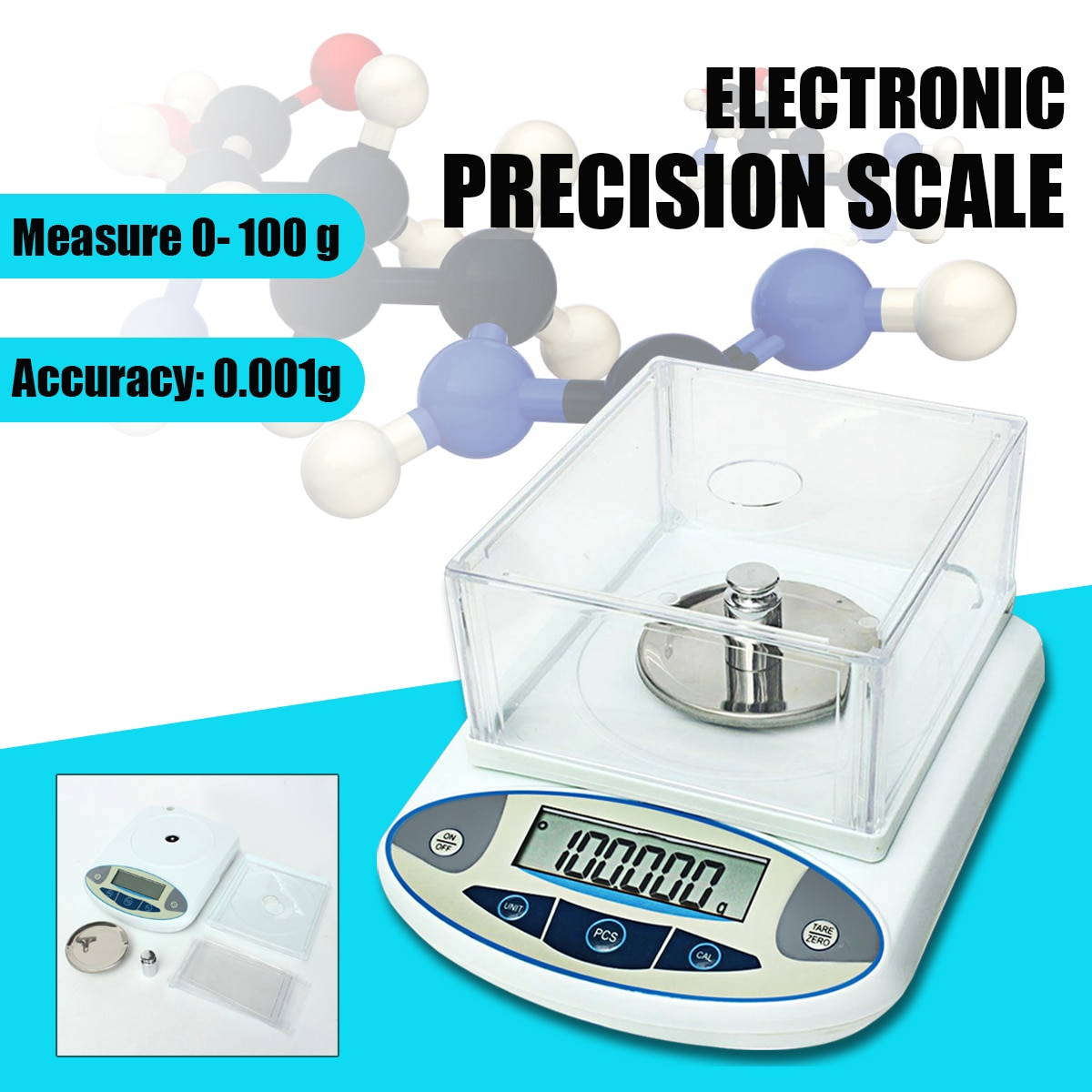 100x0.001g 1mg cyfrowe laboratorium laboratoryjne LCD waga analityczna elektroniczna precyzyjna waga jubilerska Mini przenośna waga 100g
