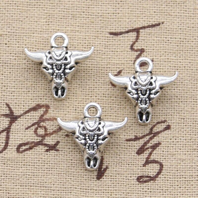 5 piezas de dijes calavera Toro Estrella Cabeza 17x16x7mm colgante de fabricación antigua adecuado, color plata tibetana Vintage, joyería hecha a mano DIY
