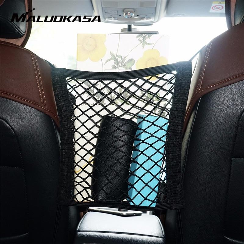 Organizador de coche, almacenamiento de respaldo de asiento, bolsa de red de malla elástica para coche entre bolsa, portaequipajes, bolsillo para vehículos de coche, estilo de coche de 30x25 cm