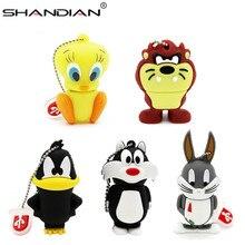 Shandian Gratis Verzending Cartoon Eend Usb Flash Drive/Cartoon Pen Drive Cool Gift Dier 4 Gb/16 Gb/32 Gb 64 Gb Leuke Mini U Disk