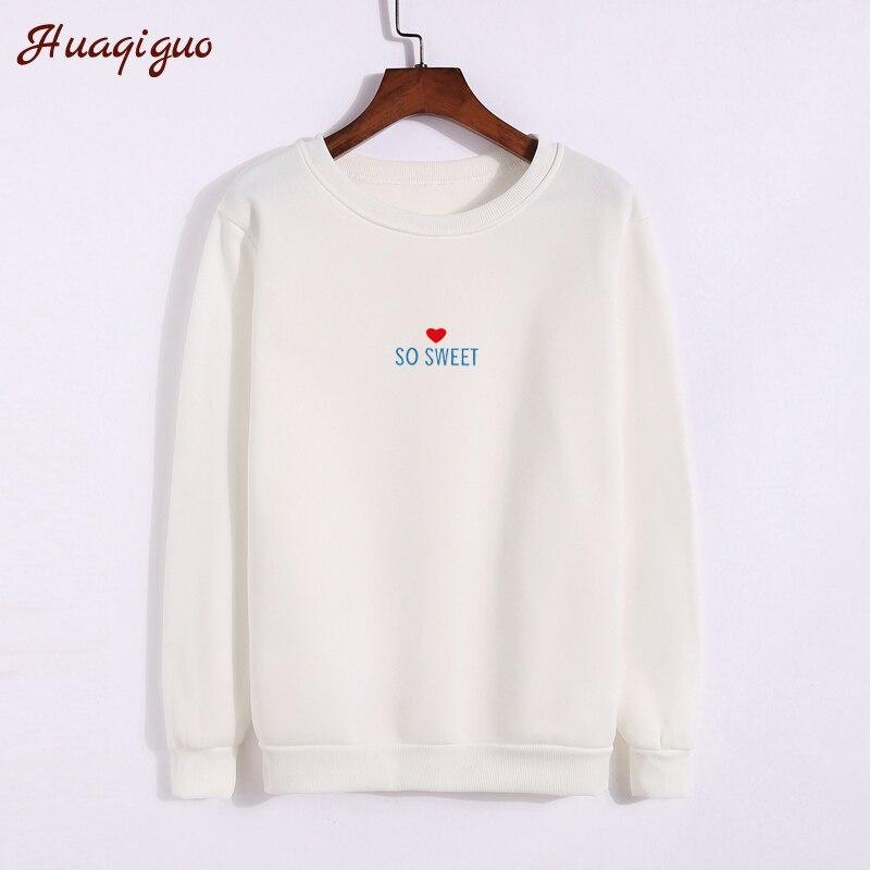 Harajuku Style 2017 Korean Winter Sweatshirts Women Heart Printed Autumn Letters So Sweet Printed Round Neck Punk Fleece Hoodies