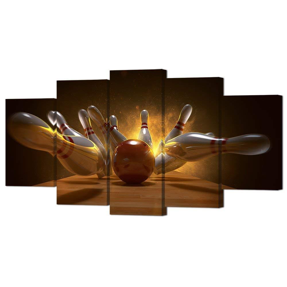 لوحة قماشية مع طباعة كرة البولينج ثلاثية الأبعاد ، 5 قطع ، ديكور حائط ، دبابيس البولينج ، ملصق صورة ، توصيل مباشر
