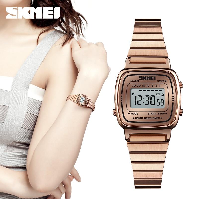 SKMEI الشهيرة الفاخرة أعلى العلامة التجارية Reloj موهير النساء الساعات للماء العد التنازلي Led الرقمية سيدة امرأة ساعة Famale المعصم