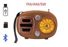 Rétro Style Rechargeable Bluetooth haut-parleur sans fil FM/AM/SW Radio Récepteur Portable mini Radio Support USB TF Carte AUX- dans
