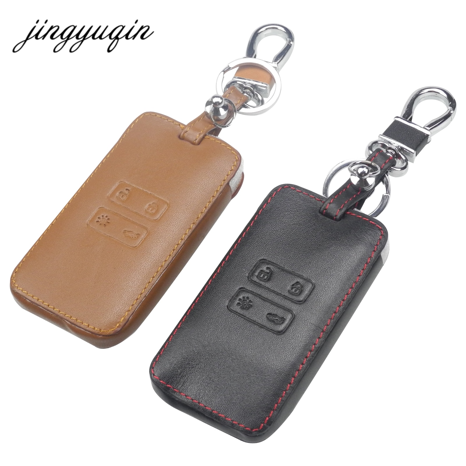 Funda protectora de cuero para llave de coche jingyuqin compatible con llavero de Renault Koleos Kadjar
