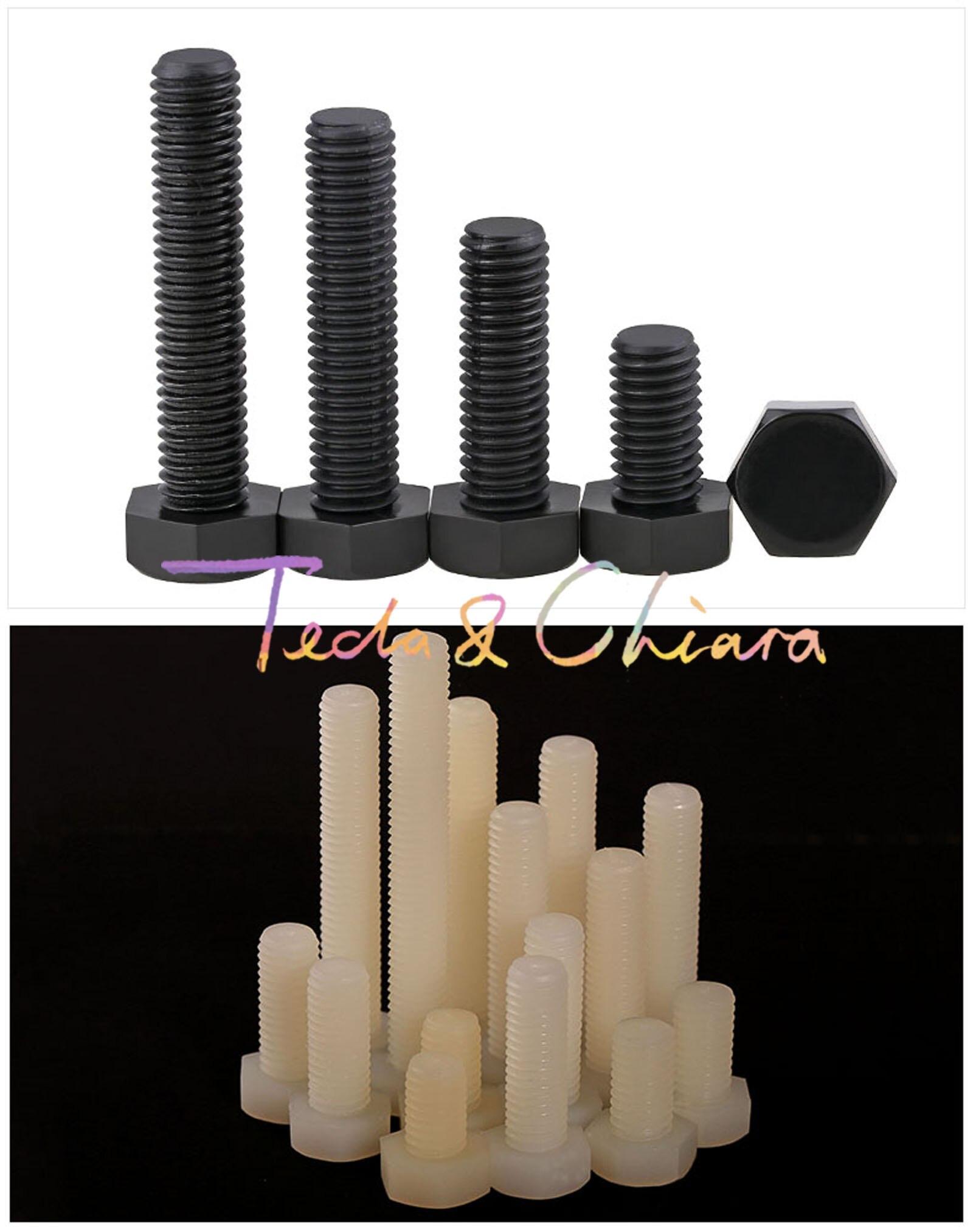10 Uds M6 x 20mm nuevo L 20 blanco negro Nylon hexagonal cabeza Set tornillo aislamiento perno hexagonal plástico *