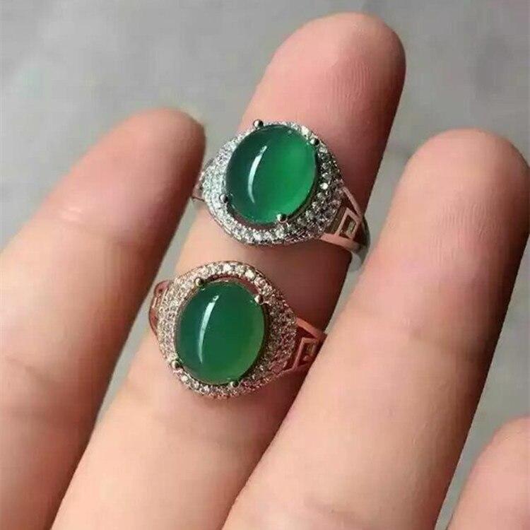 Medulla KJJEAXCMY fine jewelry 925 prata Pura natural jade verde inlay anel decoração flores silvestres simples alienígena oval deusa wa