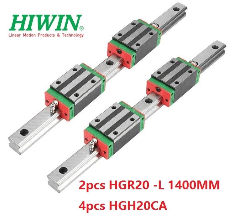 2 قطعة Hiwin السكك الحديدية HGR20 - L 1400 مللي متر + 4 قطعة HGH20CA الخطي ضيق كتل