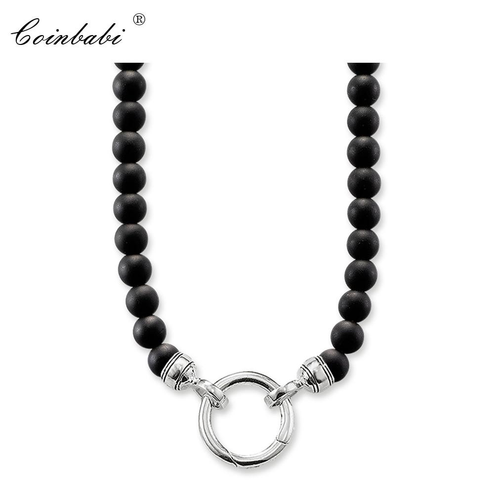 Collar negro obsidiana regalo de moda para mujeres y hombres, estilo Thomas Soul joyería TS 925 plata esterlina joyería de moda al por mayor