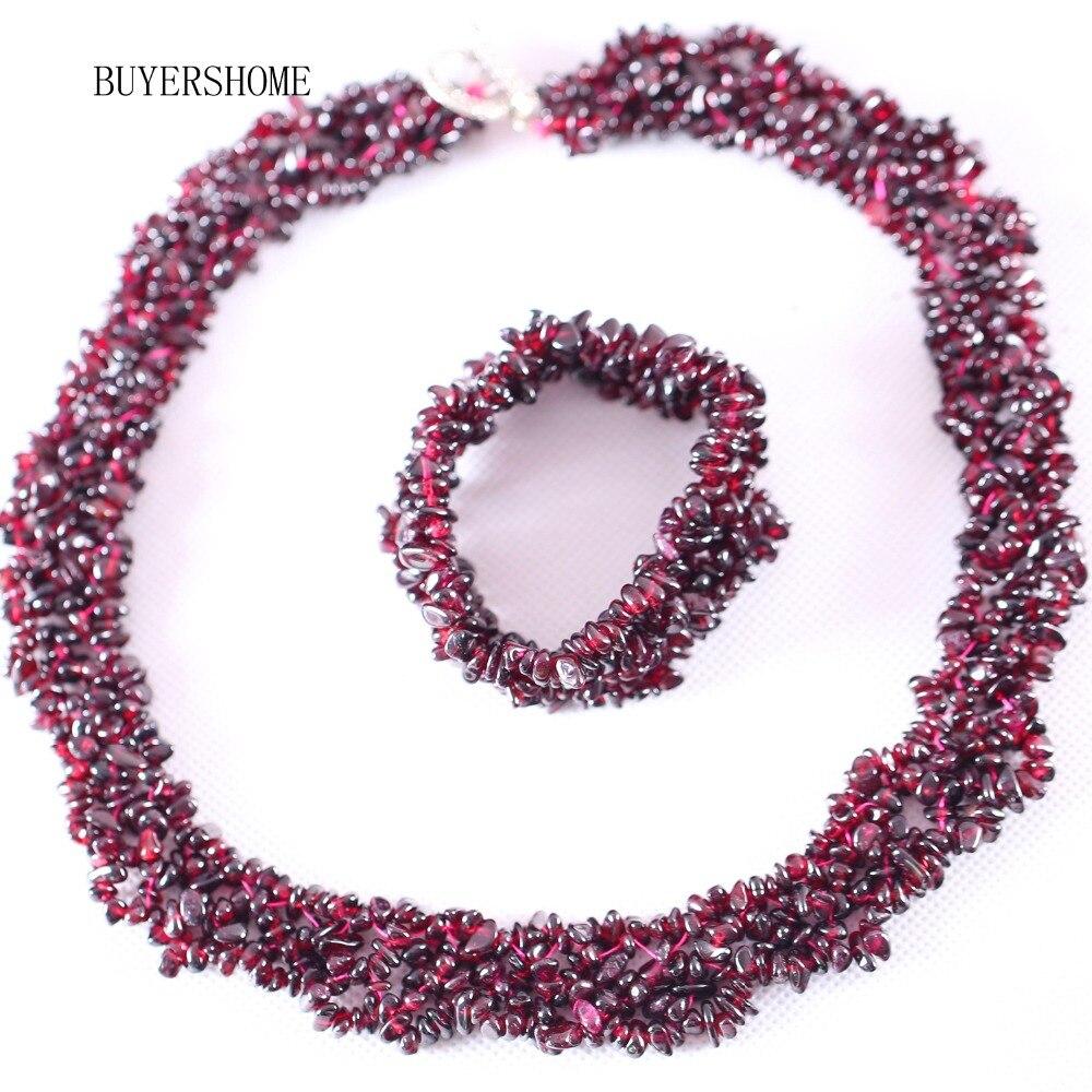 """Envío Gratis conjunto de joyería para mujer 4X8MM Chip Beads Piedra Natural roja granate collar 18 """"pulsera 7"""" 1 Juego"""