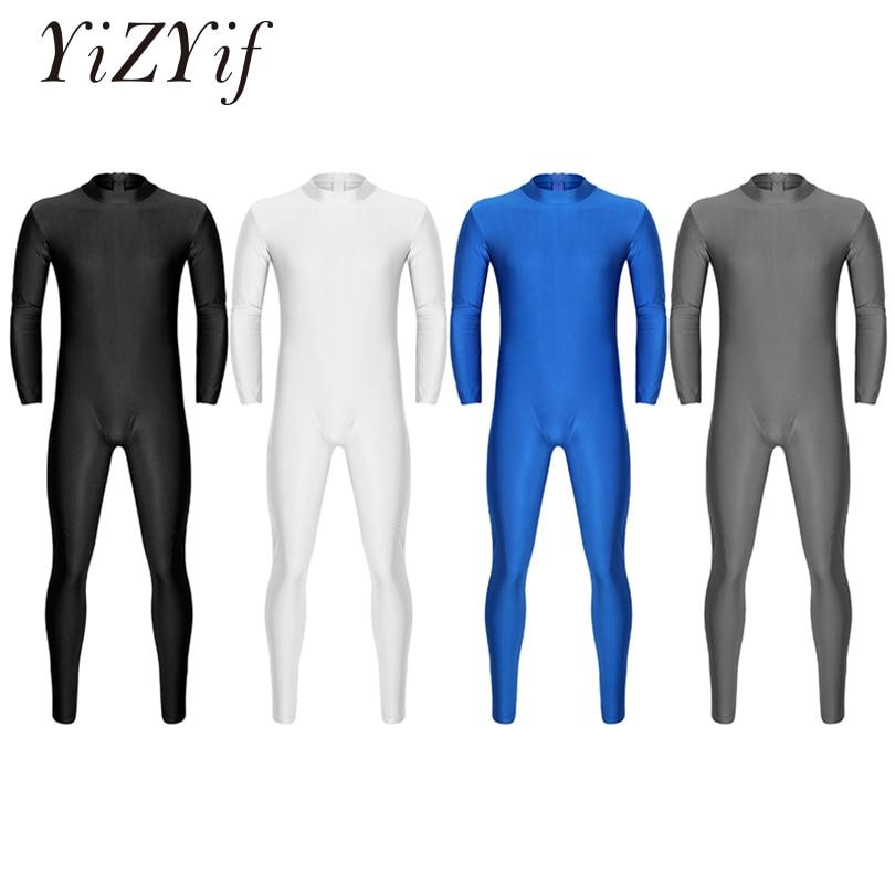 Yizyif homens adultos unitard bodysuit dancewear bem ajuste um pedaço de pescoço mock manga longa pele-apertado cor sólida bodysuit collants