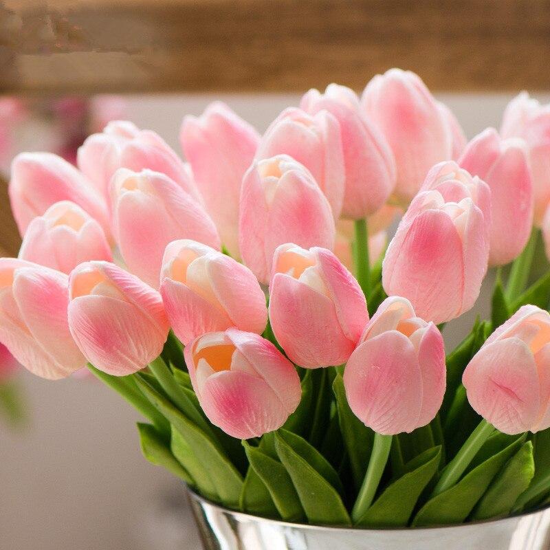 1 Pcs Leuke Rood Roze Paars Tulpen Kunstmatige Bloem Pu Nep Tulip Real Touch Wedding Decoratie Thuis Party Bruid Bloem boeketten