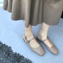 Escarpins de base femme chaussures rétro cuir confortable sandales carrées Slingbacks talon carré bout carré décontracté mary jane chaussures