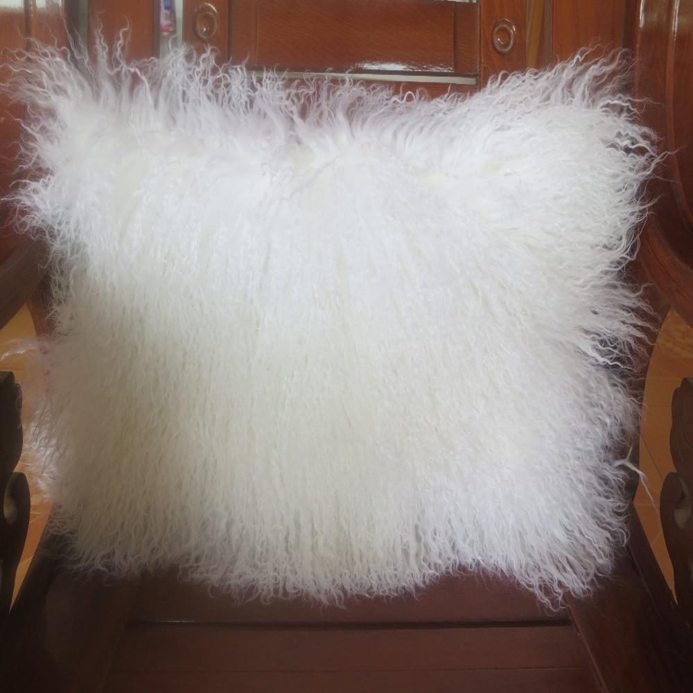 """Funda de almohada de piel de cordero tibetano de dos lados blancos 12 """"x 36"""" funda de cojín de piel auténtica decorativa almohadas"""