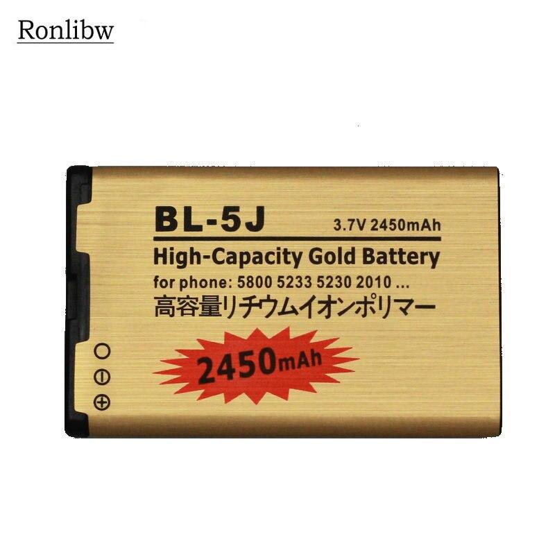 Ronlibw 10Pcs 2450mAh BL-5J BL 5J  BL5J Gold Battery for Nokia 5230 5233 5800 3020 Lumia 520 525 530 5900 Xpress Music C3 N90