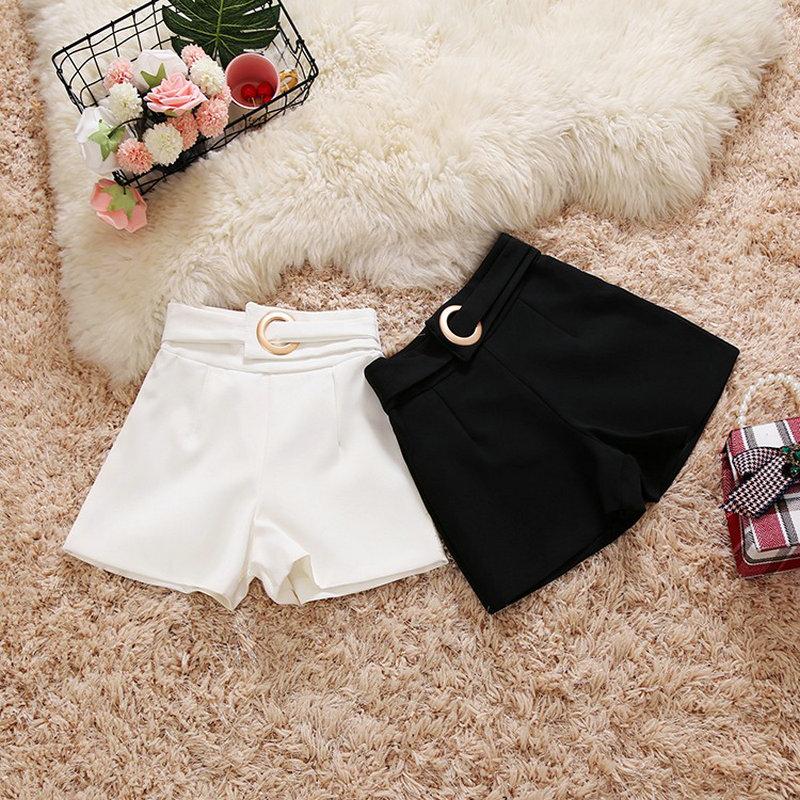 2020 letnie nowe damskie spodnie damskie spodenki wysokiej talii damskie jednokolorowe slim pierścieniowa klamra szerokie nogawki garnitur szorty
