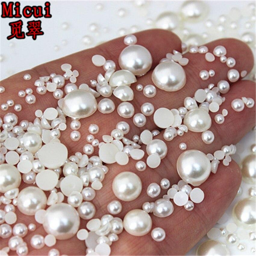 2/3/4/5/6/8/10mm Weiß/Elfenbein/Halb Runde ABS Imitation Perle Flatback für Schmuck Machen/Nagel Kunst/Kleidung/Telefon Dezember MC134