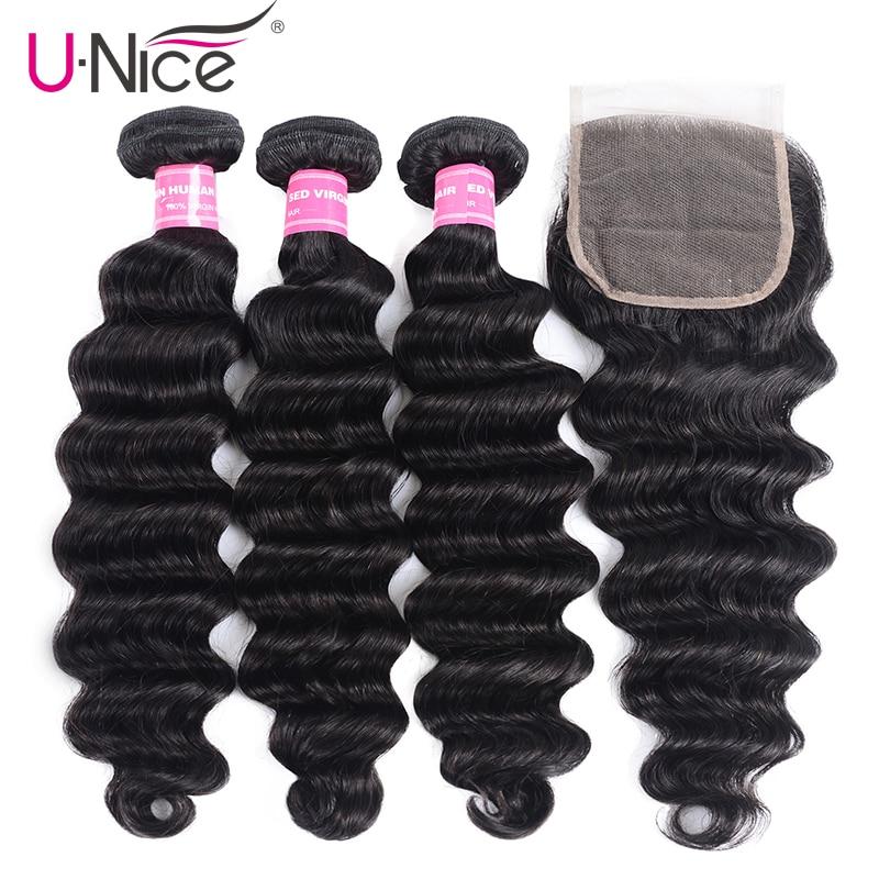 Unice Hair-وصلات شعر طبيعية ، وصلات مموجة عميقة مع إغلاق ، نسج ، أجزاء مجانية