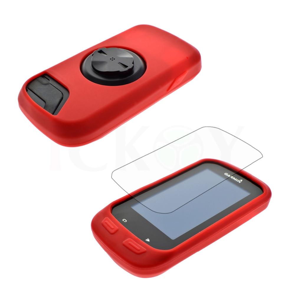 Proteger Caso Da Pele de Borracha de Silicone Vermelho + Tela LCD Capa Protetor Para GPS Garmin Borda 1000/Edge Explorar 1000