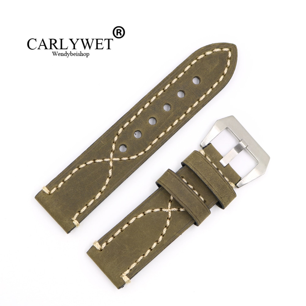 CARLYWET20 22 24 26mm verde grueso correa de reloj para la etiqueta CARRERA Omega Montblanc Panerai Daytona Submariner Tissot