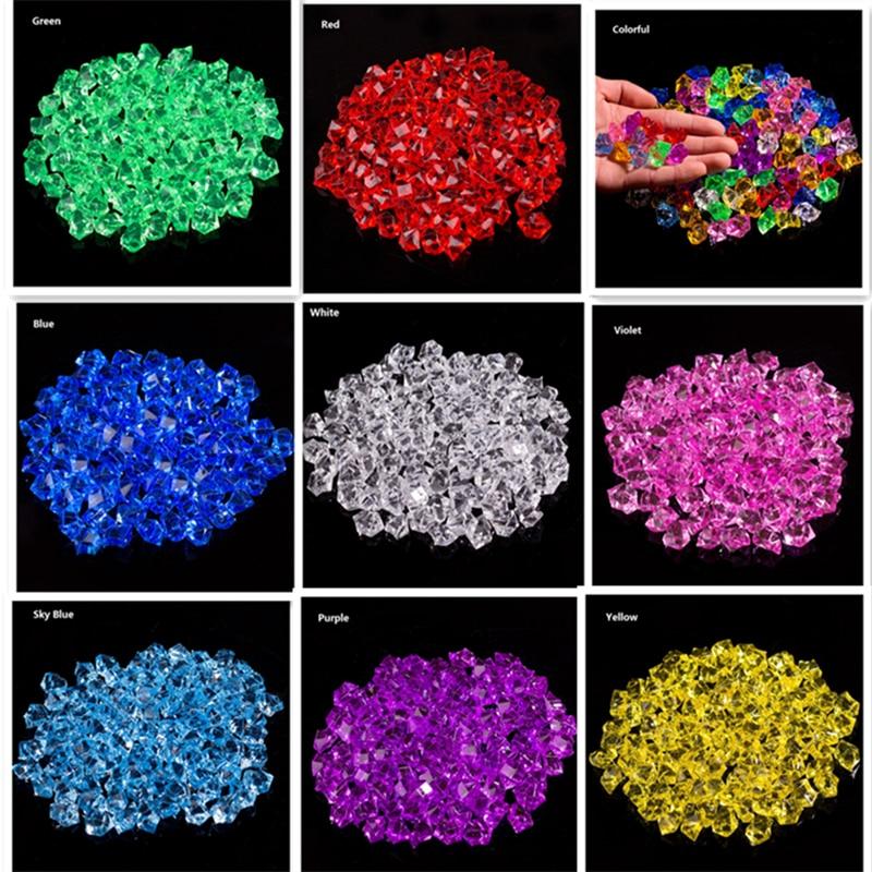 100 x Artificial Color Rock Acrylic Crystal Stone Plastic Transparent Vase Decorative Stone Fish Tank Home Wedding Decorations