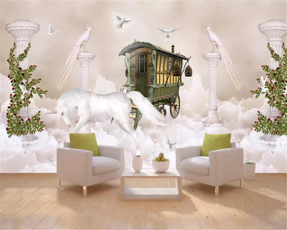 Beibehang Фэнтези моды стерео обои небо облако Единорог римская колонна полный дом фон papel de parede 3d обои