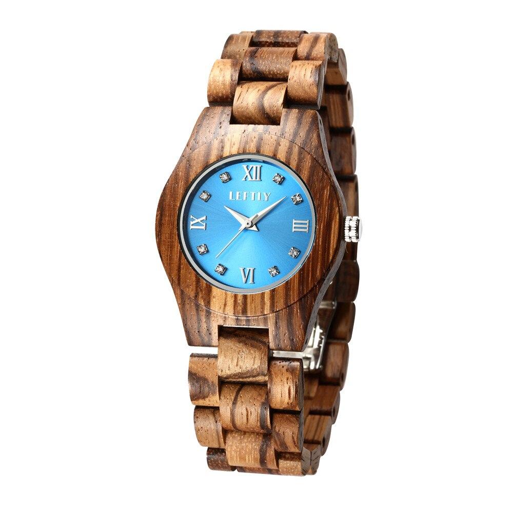 Esquerda feminino relógio de madeira quartzo movimento leve relógio de pulso casual