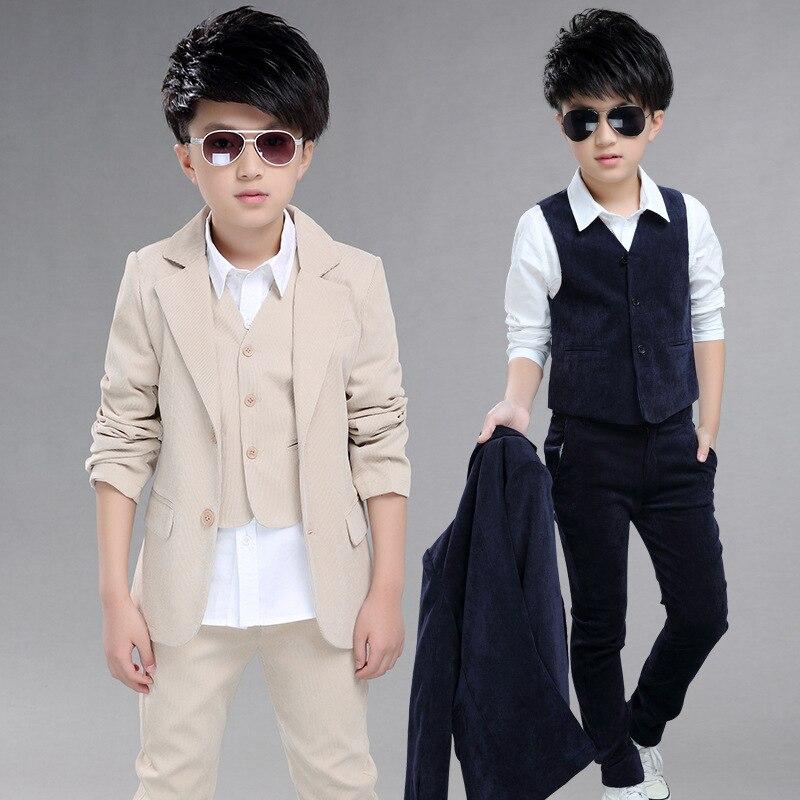 Trajes de chaqueta grande para niños para bodas chaqueta + chaleco + Pantalones 3 unids/set traje para matrimonio niños chaqueta Formal ropa EB078