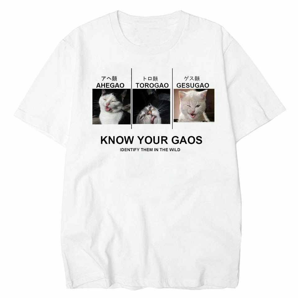 Know Your Face Ahegao Torogao Gesugao Funny Cat Hentai Meme White T-Shirt 2019 Newest Letter Print Cartoon Crazy T Shirts