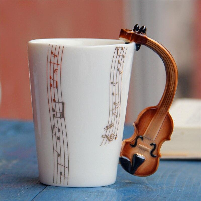 201-300 ml porcelana xícara de chá com caixa de presente criativo guitarra caneca de música cerâmica copo de café para aniversário crianças presente festa barra